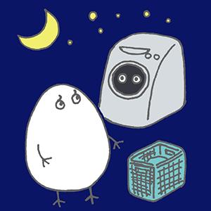 夜遅くに洗濯をしようか迷っている状態を表したイラスト